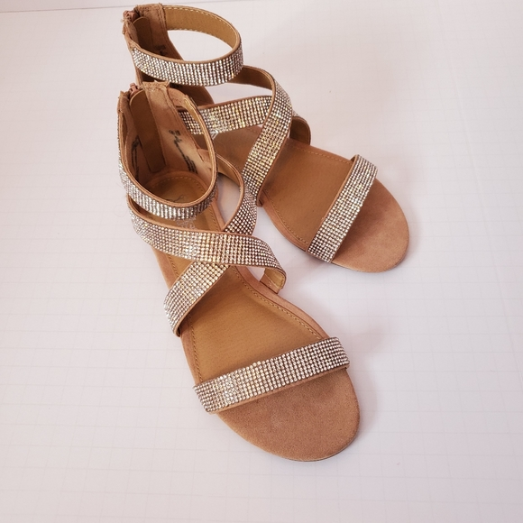 Strappy silver jeweled sandals